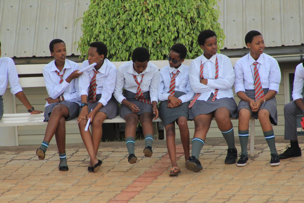 Students have the Assembly ground benches where they relax as they wait for the arrival of their parents,